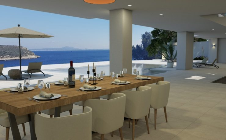 1st sea line: Dreamlike new built villa Cala Vinyas